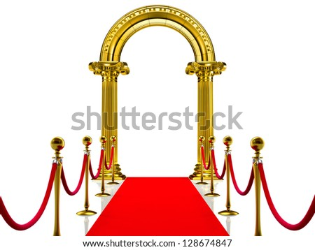 Golden ancient gate with Red Carpet - stock photo
