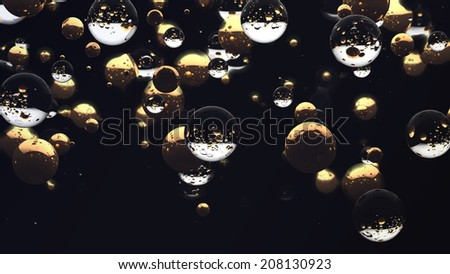 Golden and glass spheres in black space - stock photo