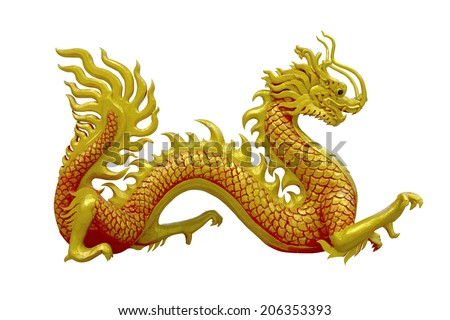 golden and red Chinese dragon on isolate background - stock photo