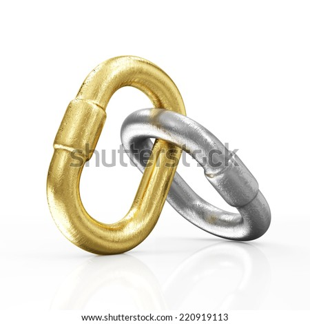 Golden and Silver Chain Links Icon isolated on white background - stock photo