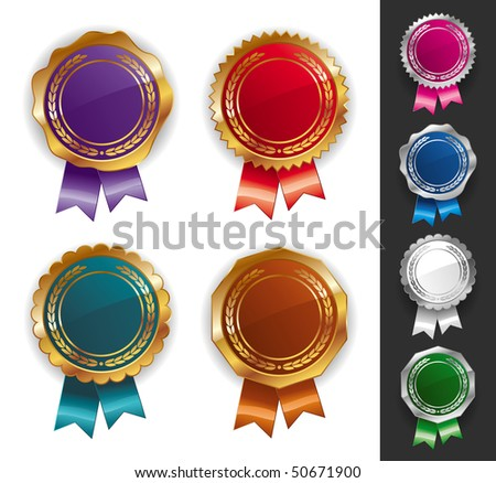 Golden and silver quality seals - stock photo