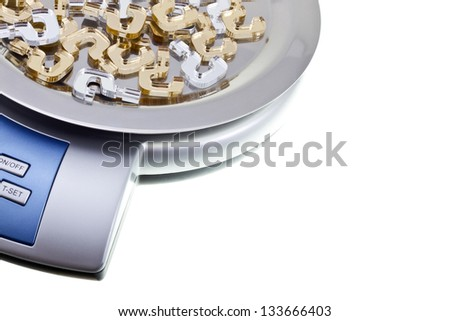 Golden and silver question marks lie on a digital kitchen scales. Isolated on white. Image blank with copy space/Pros and cons - stock photo