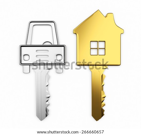 Golden and silver set of keys in the form of house and car isolated on white background - stock photo
