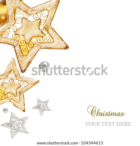 Golden and silver stars, ornaments and holiday decorations isolated on white background - stock photo