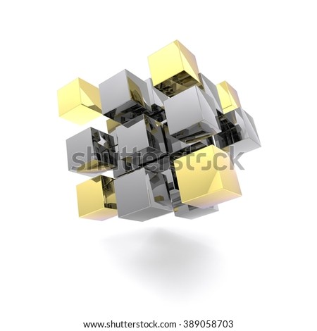 golden and steel cubes, abstract scene - stock photo