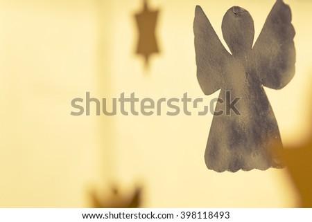 golden angel - christmas decoration, postcard - stock photo