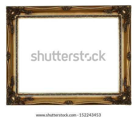 Golden Antique Carved Picture Frame Isolated On White Background - stock photo