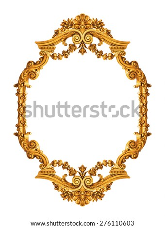Golden antique frame isolated on white  - stock photo