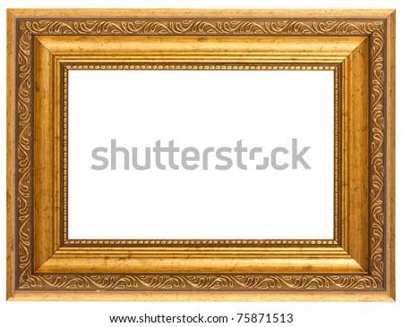 Golden antique frame isolated on white background - stock photo