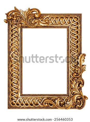 Golden antique frame isolated on white -Clipping path included  - stock photo