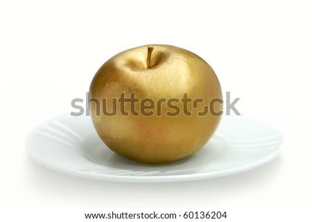 Golden apple isolated on white - stock photo