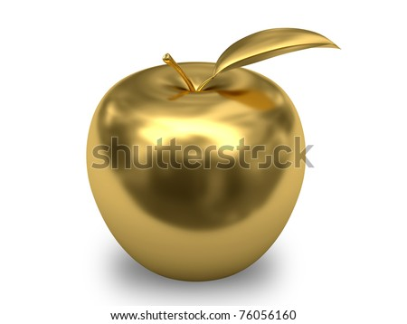 Golden apple on white background. High resolution 3D image. - stock photo