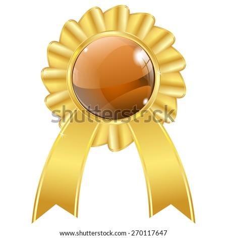 Golden award icon Isolated on white background. Raster version - stock photo