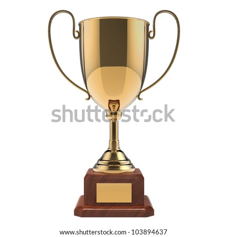 Golden award trophy isolated on white background with clipping path. - stock photo