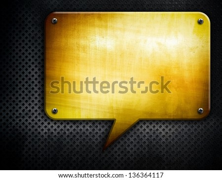 golden background with dialog pattern - stock photo