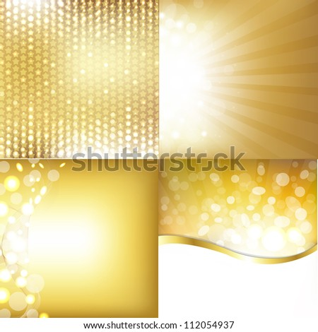 Golden Backgrounds Set With Stars - stock photo