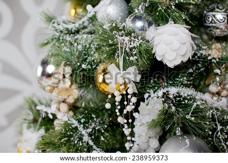 golden ball and grape on presents with craft paper - stock photo