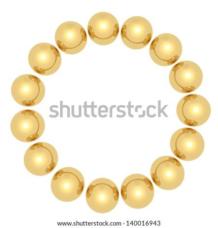 Golden balls in a circle. - stock photo