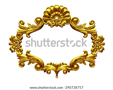 golden baroque frame - stock photo