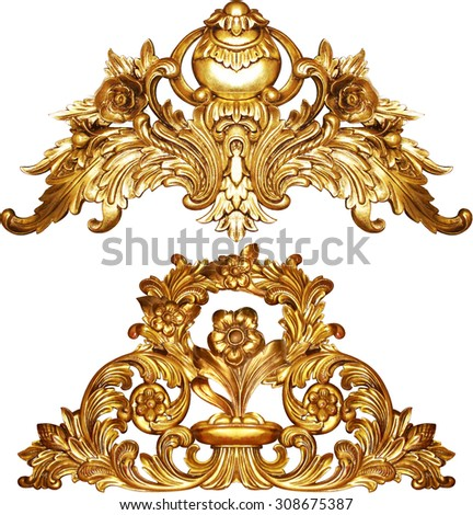 golden baroque isolated  on white background - stock photo