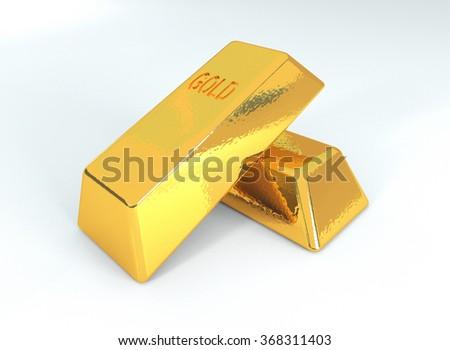 Golden bars, 3d illustration - stock photo