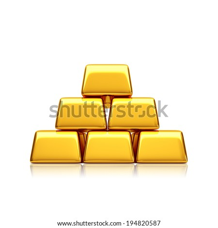 Golden bars pyramid - stock photo
