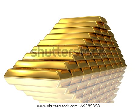 Golden bars pyramide 3D rendered isolated on white with reflection - stock photo