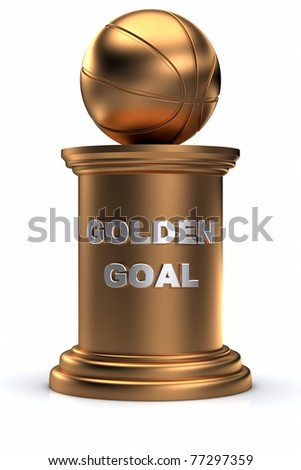Golden basket ball on a pedestal. - stock photo