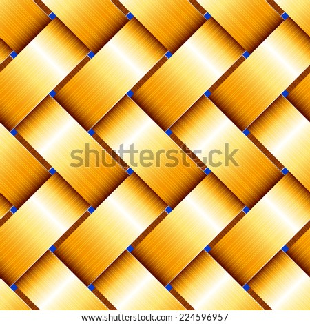 Golden Basketwork. Seamless pattern. Raster Version. - stock photo