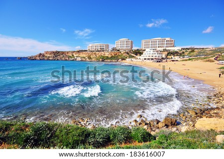 Golden Bay, the most famous beach in Malta  - stock photo