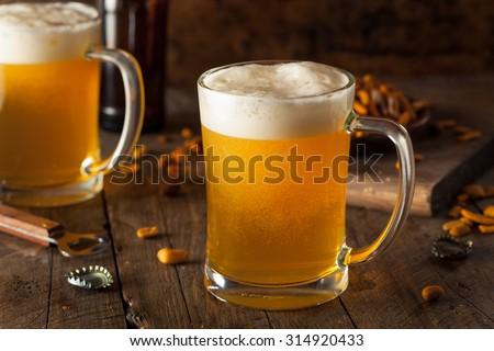 Golden Beer in a Glass Stein for Oktoberfest - stock photo