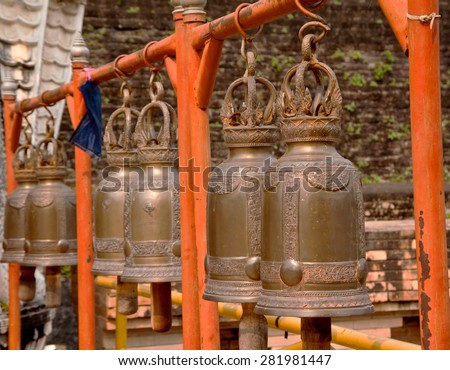 Golden bell in thai temple - stock photo