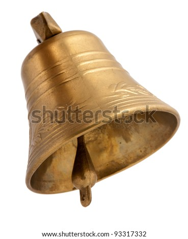 Golden bell isolated on white - stock photo