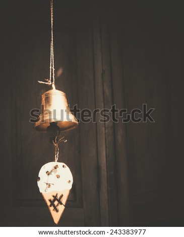 golden bell vintage style. - stock photo