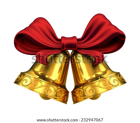 Golden bells and red ribbon isolated on white background - stock photo