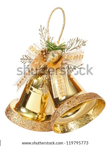 golden bells isolated on white - stock photo