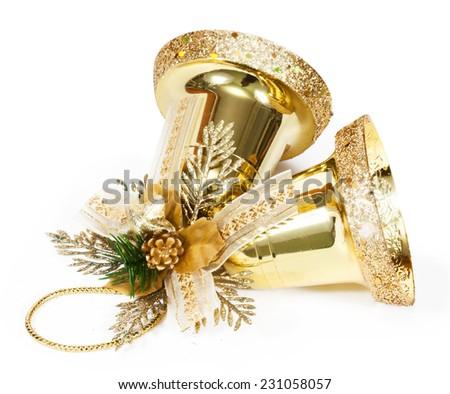 golden bells isolated on white - stock photo