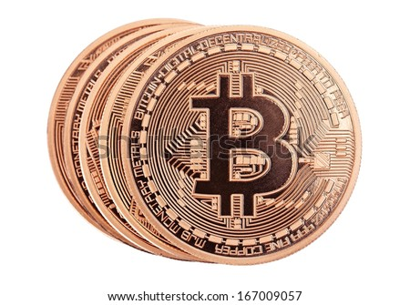 Golden Bitcoins (new virtual money ) isolated on white. - stock photo