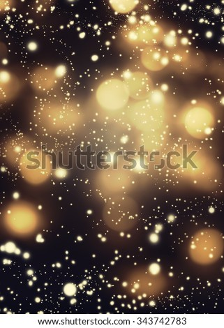 Golden Black Christmas Abstract Defocused Background With festive boke. Blurred Bokeh - stock photo