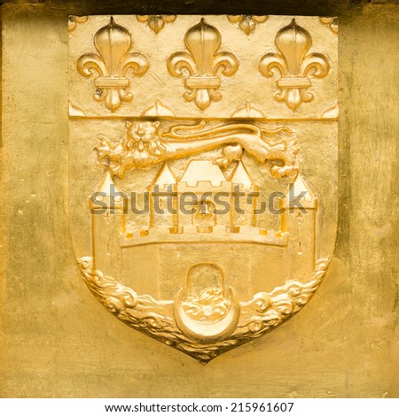 Golden Blazon of Bordeaux, coat of arms, with lion, castle, wave, moon  and flowers of lily, France - stock photo