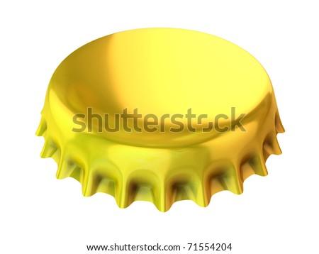 golden bottle cap 3d illustration - stock photo