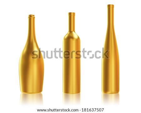 Golden Bottles on White Background - stock photo