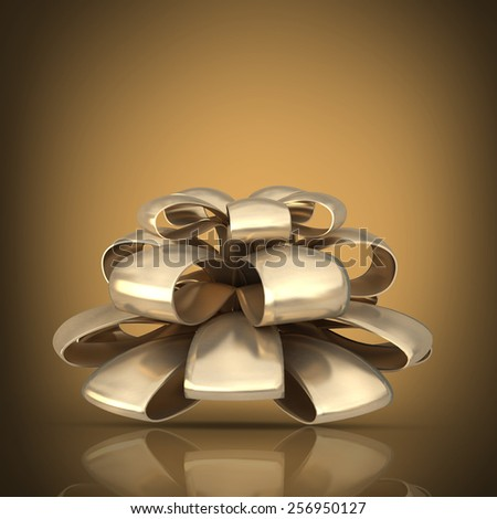 golden Bow. High resolution 3D collection of gold objects.  - stock photo