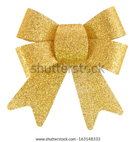Golden Bow, Isolated On White Background - stock photo