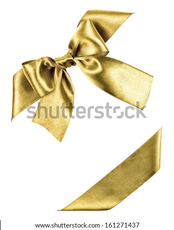 golden bow made from silk ribbon isolated - stock photo