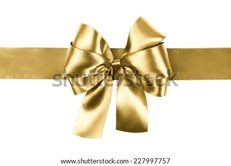 golden bow photo made from silk - stock photo