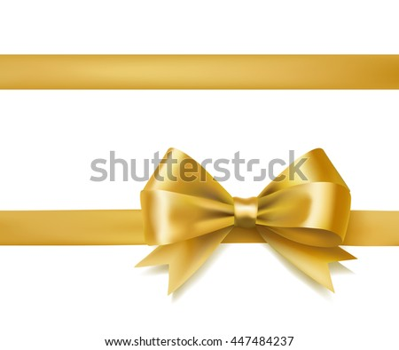 golden bow ribbon on white. decorative design element. raster - stock photo