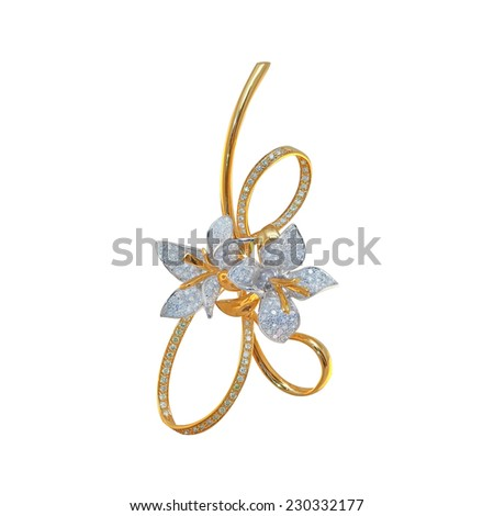 golden brooch with diamonds on a white - stock photo