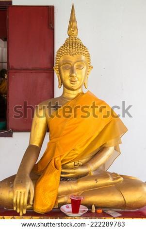Golden buddha at Thai temple, Thailand - stock photo