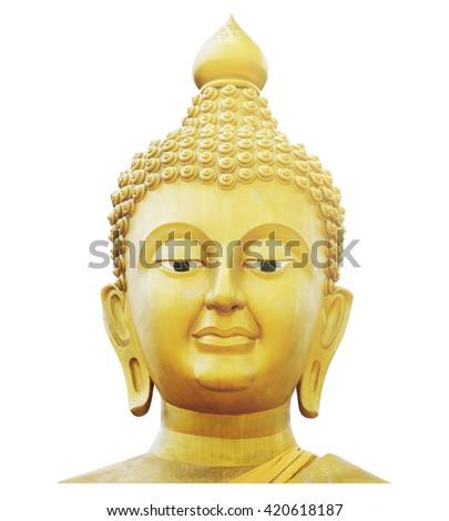 Golden Buddha Face / Golden Buddha Face Isolated on White Background - stock photo